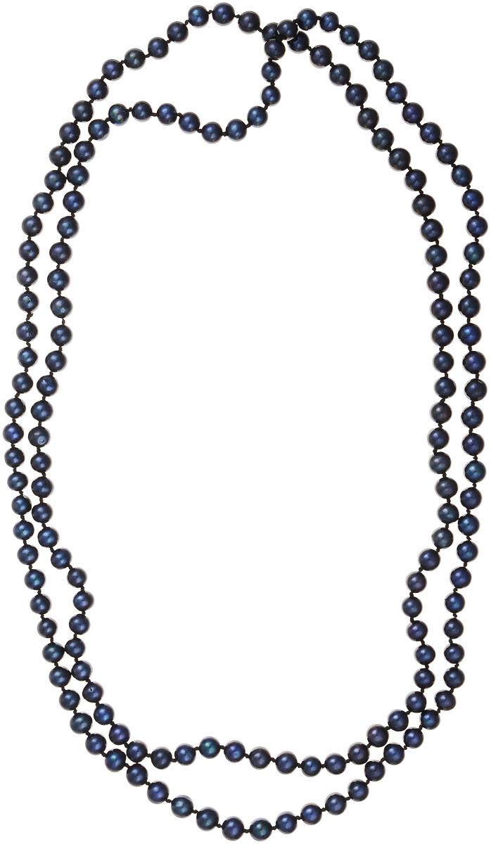 Бусы Art-Silver, цвет: темно-синий, длина 120 см. КЖ6-7АА+120-3128КЖ6-7АА+120-3128Бусы Art-Silver изготовлены из культивированного жемчуга. Длинное изделие оформлено однотонными бусинами.