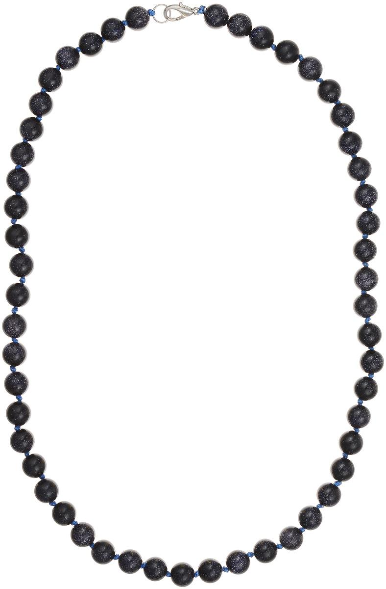 Бусы Art-Silver, цвет: темно-синий, длина 55 см. Ав10-55-464Ав10-55-464Бусы Art-Silver выполнены из авантюрина, нанизанного на текстильную нить. Украшение застегивается на практичный карабин из бижутерного сплава. Бусины диаметром 8 мм имеют характерный для натурального авантюрина блеск, напоминающий множество блесток, заключенных внутри камня, благодаря чему такие бусы красиво играют на свету. Нить окрашена в синий цвет, что подчеркивает оригинальные переливы бусин.