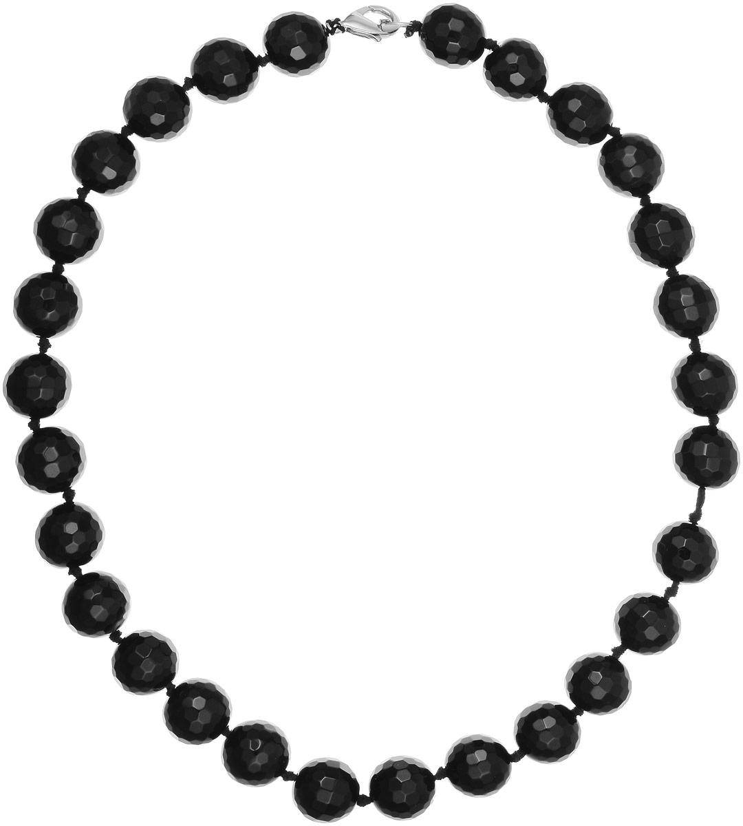 Бусы Art-Silver, цвет: черный, длина 50 см. ЧГ16-50-891ЧГ16-50-891Бусы Art-Silver изготовлены из агата. Изделие оформлено круглыми рельефными бусинами и застегивается на замок-карабин из бижутерного сплава.