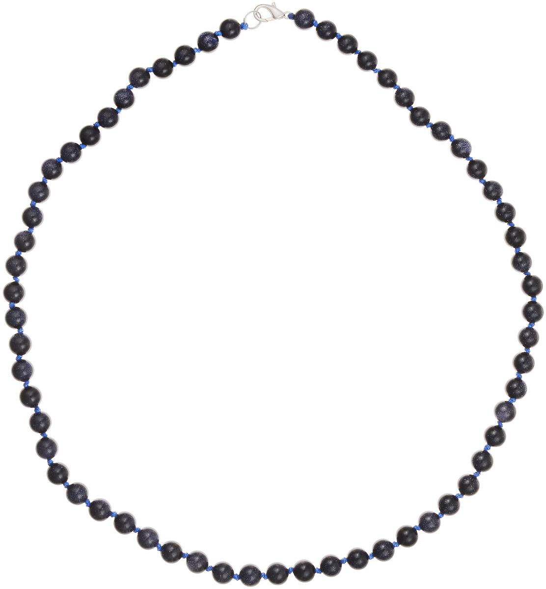 Бусы Art-Silver, цвет: темно-синий, длина 60 см. Ав8-60-423Ав8-60-423Бусы Art-Silver выполнены из авантюрина, нанизанного на текстильную нить. Украшение застегивается на практичный карабин из бижутерного сплава. Бусины диаметром 6 мм имеют характерный для натурального авантюрина блеск, напоминающий множество блесток, заключенных внутри камня, благодаря чему такие бусы красиво играют на свету. Нить окрашена в синий цвет, что подчеркивает оригинальные переливы бусин.