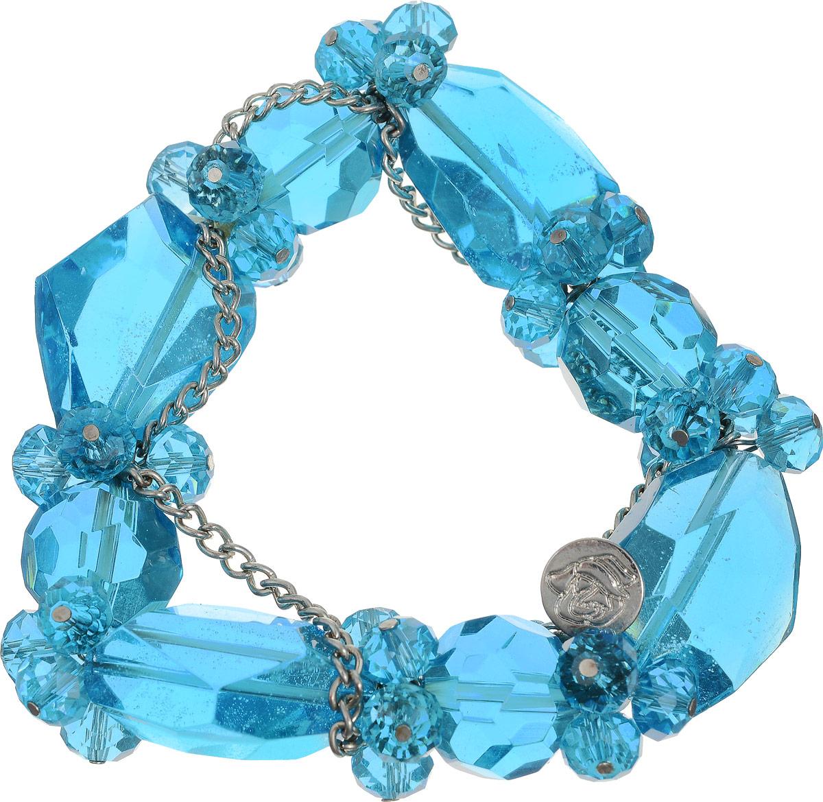 Браслет Art-Silver, цвет: голубой. ТВ16-1-230ТВ16-1-230Женский браслет Art-Silver выполнен из крупных кристаллов разнообразной формы, нанизанных на эластичную резинку и украшенных металлической цепочкой из бижутерного сплава. Прозрачные искусственные кристаллы красиво переливаются, благодаря многочисленным граням различного размера.