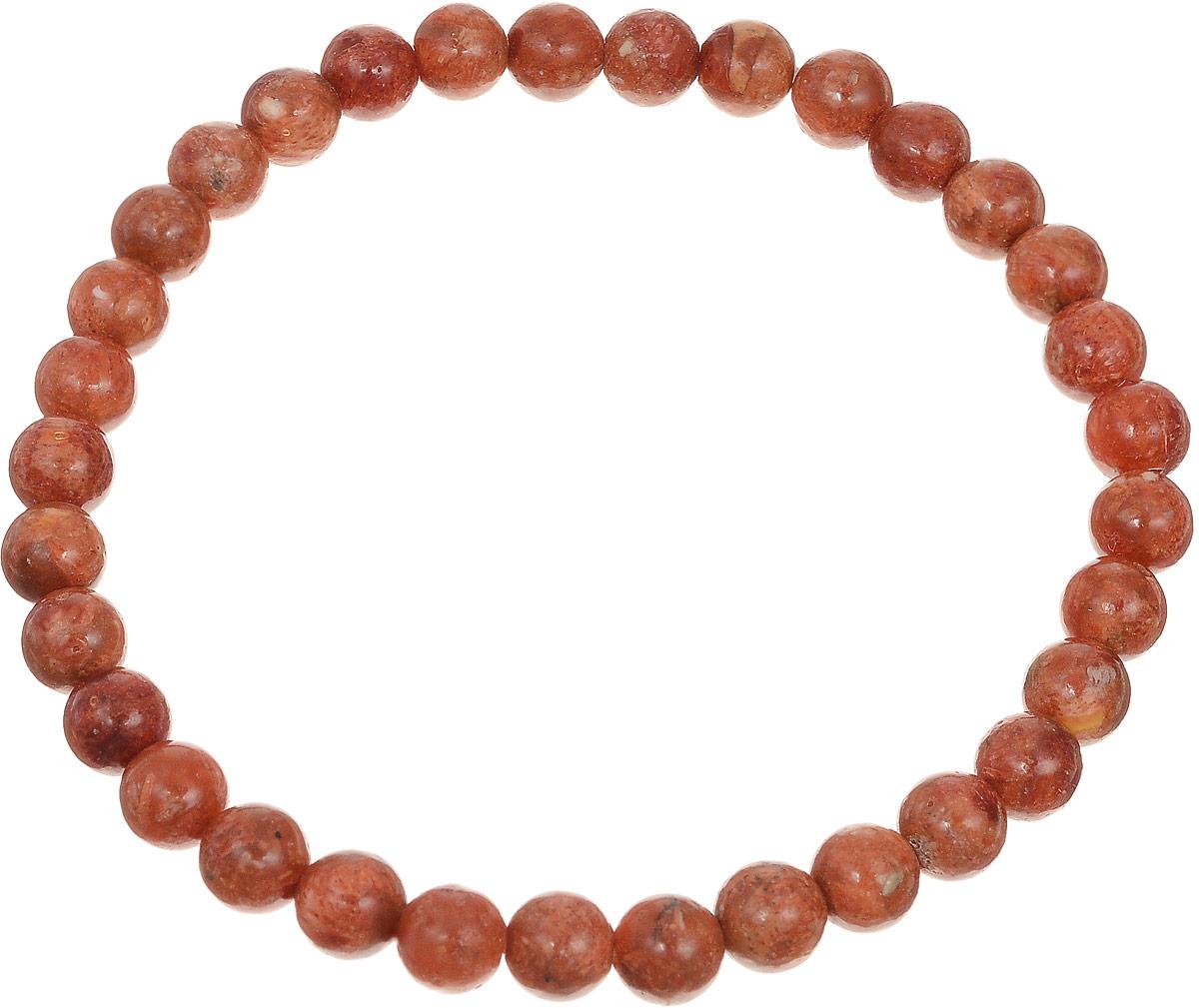 Браслет Art-Silver, цвет: красно-коричневый. КОРк6-82КОРк6-82Браслет Art-Silver изготовлен из коралла. Изделие оформлено круглыми бусинами и оснащено эластичной резинкой для удобства надевания.
