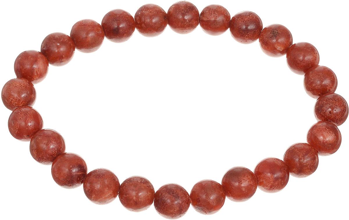 Браслет Art-Silver, цвет: красно-коричневый. КОРк8-96КОРк8-96Браслет Art-Silver изготовлен из коралла. Изделие оформлено круглыми бусинами и оснащено эластичной резинкой для удобства надевания.