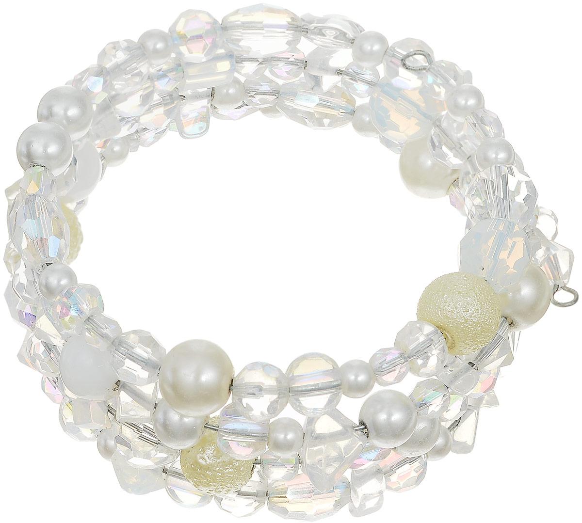 Браслет женский Art-Silver, цвет: белый. ТБ36-230ТБ36-230Эффектный женский браслет Art-Silver изготовлен из бижутерного сплава и кристаллов. Изделие на металлическом каркасе, дополнено бусинами различного диаметра.