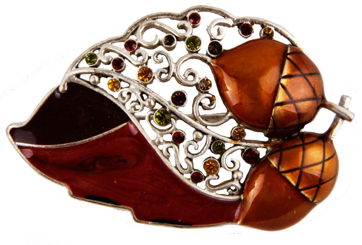 Брошь Осенний лист. Бижутерный сплав, эмаль, австрийские кристаллы. США, конец XX векаОС29221Брошь Осенний лист. Бижутерный сплав, эмаль, австрийские кристаллы. США, конец ХХ века. Размер 6 х 4 см. Сохранность хорошая. Предмет не был в использовании. Филигранная брошь выполнена из бижутерного сплава серебряного тона. Очаровательная, притягивающая взгляды брошь. Снабжена удобной и надежной застежкой. Брошь - отличное дополнение вашего наряда.