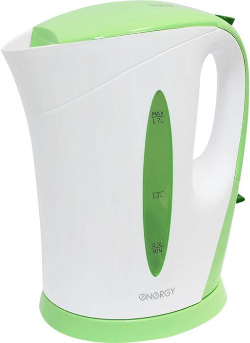 Energy E-215, White Green электрический чайник54 153139Электрический чайник Energy E-215 прост в управлении и долговечен в использовании. Изготовлен из высококачественных материалов. Прозрачное окошко позволяет определить уровень воды. Мощность 2200 Вт позволит вскипятить 1,7 литра воды в считанные минуты. Для обеспечения безопасности при повседневном использовании предусмотрены функция автовыключения, а также защита от включения при отсутствии воды.
