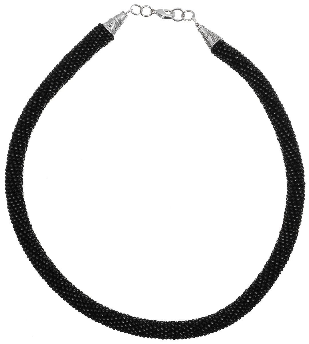 Колье-жгут Color Beads (бисер), цвет: черный. Ручная авторская работа. СВ23980bСВ23980bКолье-жгут Color Beads ручной работы изготовлен из пластика и текстиля. Изделие связано из бисера и застегивается с помощью замка- карабина.