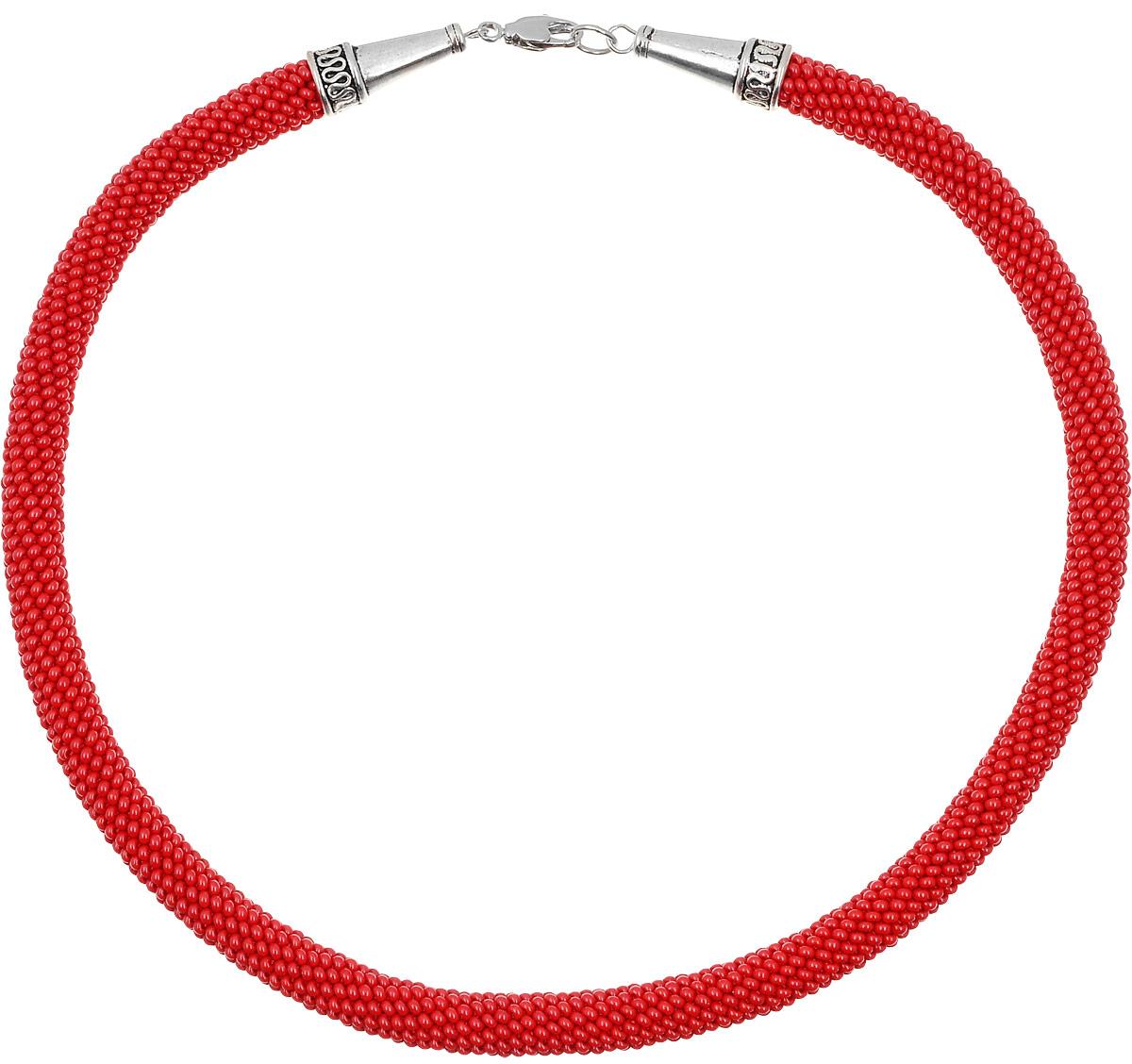 Колье-жгут Color Beads (бисер), цвет: красный. Ручная авторская работа. СВ93210bСВ93210bКолье-жгут Color beads ручной работы изготовлен из пластика и текстиля. Изделие связано из бисера и застегивается с помощью замка- карабина.
