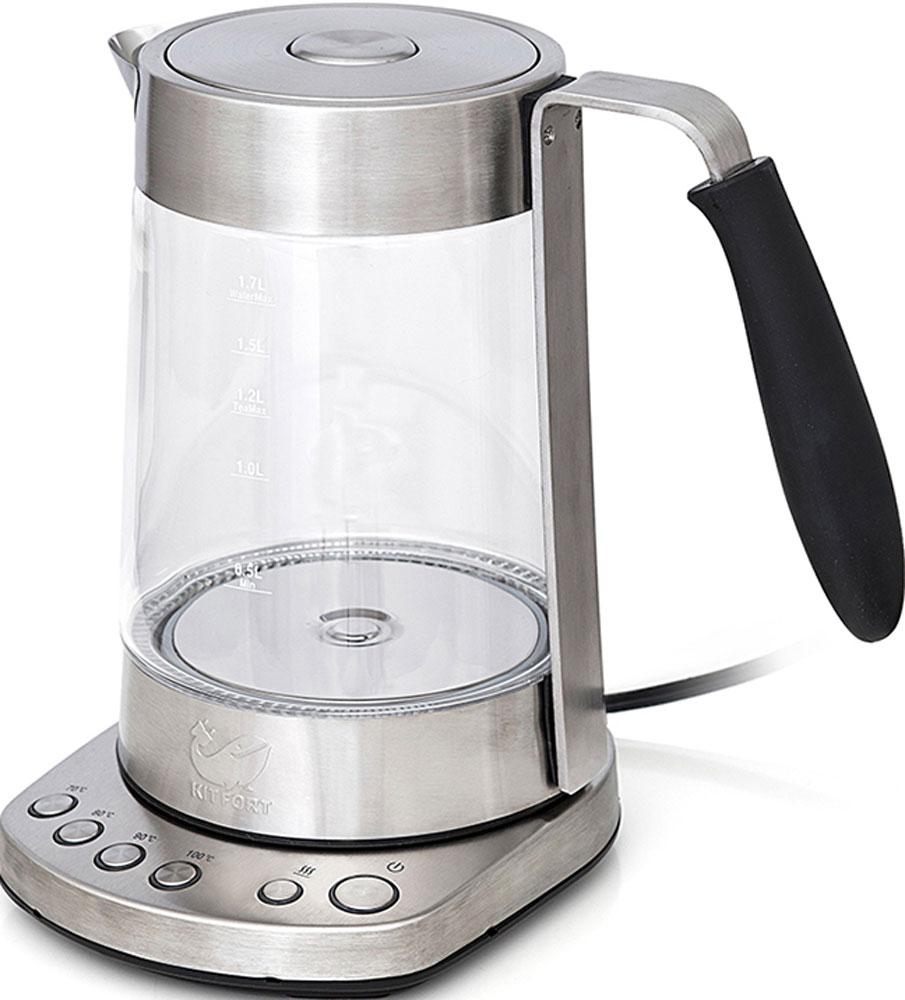 Kitfort KT-601 электрочайникKT-601Стеклянный электрический чайник с терморегулятором Kitfort КТ-601 может не только вскипятить воду, но и нагреть её до нужной температуры (70, 80, 90 и 100 °С), что очень удобно при заваривании различных сортов чая. Также чайник оснащен функцией поддержания температуры. Температура контролируется термодатчиком, встроенным в дно чайника. Корпус чайника выполнен из стекла, а крышка и подставка - из сочетания пластмассы и нержавеющей стали. Мерная шкала нанесена на прозрачную часть корпуса. Горлышко чайника большое, крышка полностью снимается. Это облегчает доступ внутрь при мытье чайника и во время удаления накипи. Ручка чайника обрезинена, не нагревается и удобно лежит в руке. На подставке расположены кнопки для включения и выключения чайника, установки режимов работы и выбора температуры. Все кнопки со световой индикацией, позволяющей легко определить, какой режим сейчас активен. При закипании, изменении режимов работы, а также при установке и...
