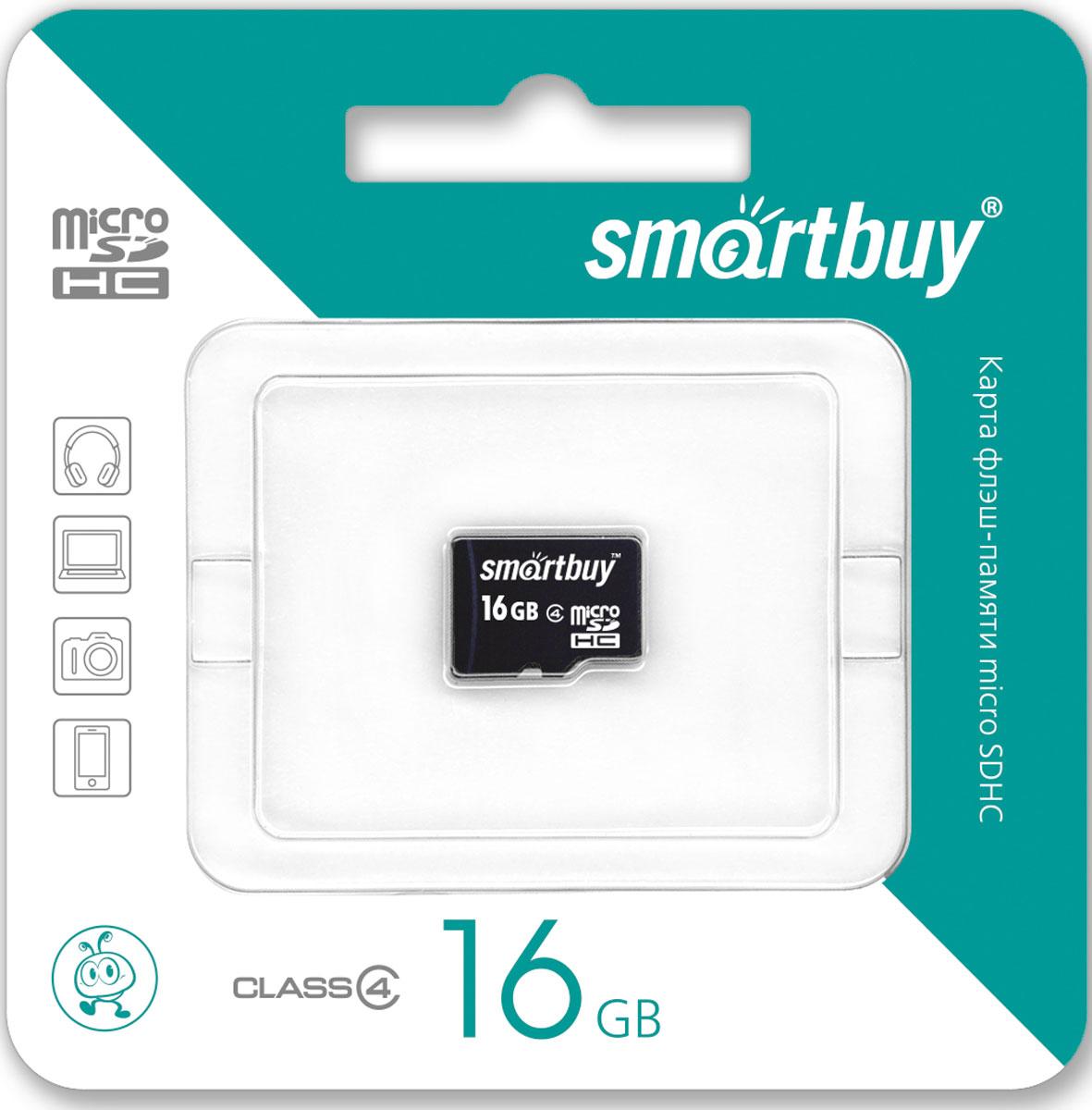 SmartBuy microSDHC Class 4 16GB карта памяти (без адаптера)SB16GBSDCL4-00Карта памяти Smartbuy microSDHC Class 4 позволяет осуществлять расширение памяти цифровых плееров, фотоаппаратов, видеокамер, коммуникаторов, смартфонов, планшетов и других совместимых устройств. Карты памяти Smartbuy являются качественным решением для хранения и переноса различного рода информации, такой как музыкальные файлы, фотографии, электронные документы и другие важные для вас файлы. Внимание: перед оформлением заказа, убедитесь в поддержке вашим электронным устройством карт памяти данного объема.