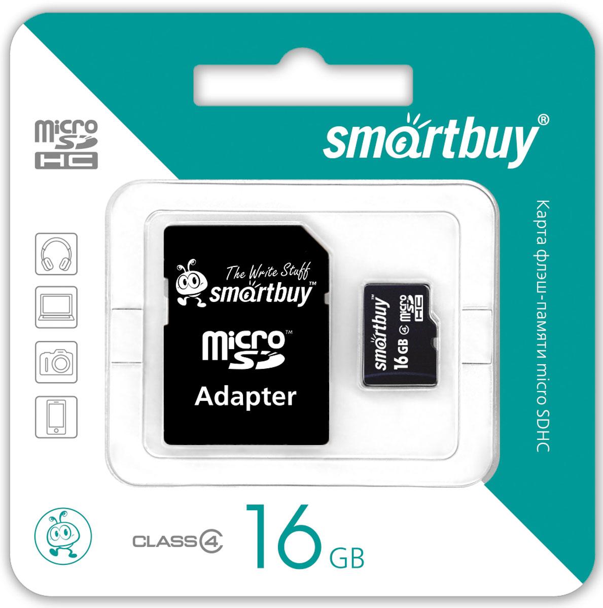 SmartBuy microSDHC Class 4 16GB карта памяти (с адаптером SD)