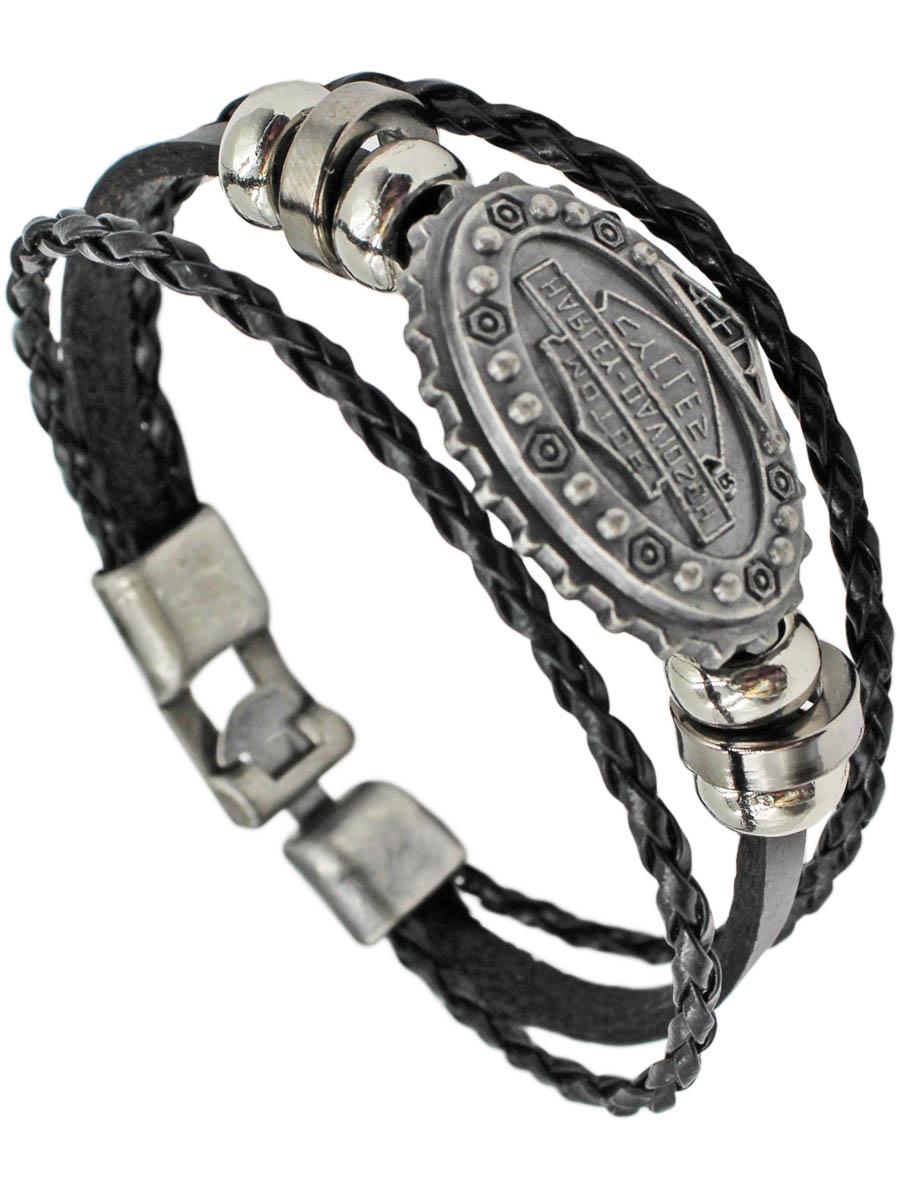 Браслет Taya, цвет: черный. T-B-11451-BRAC-BLACKT-B-11451-BRAC-BLACKБраслет сделан из трех кожаных полосок и серебряного овала в центре. Размеры: длина 20,0 см, ширина около 1,0 см