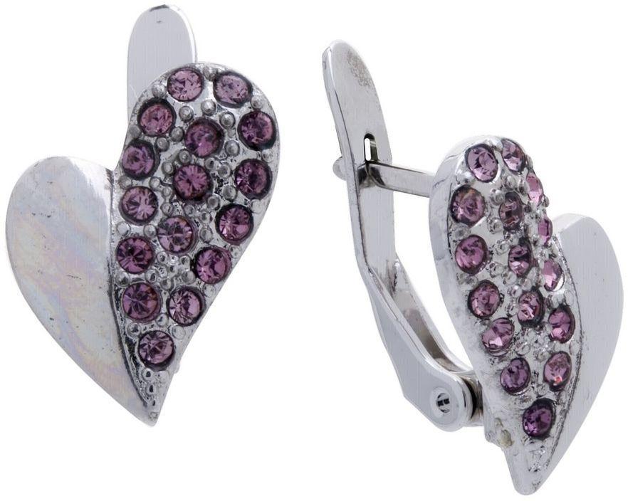 Серьги Jenavi Озон. Приема, цвет: серебряный, розовый. j956f110j956f110Коллекция Озон, Приема (Серьги) гипоаллергенный ювелирный сплав, Родирование, вставка Кристаллы Swarovski, цвет - серебряный, розовый