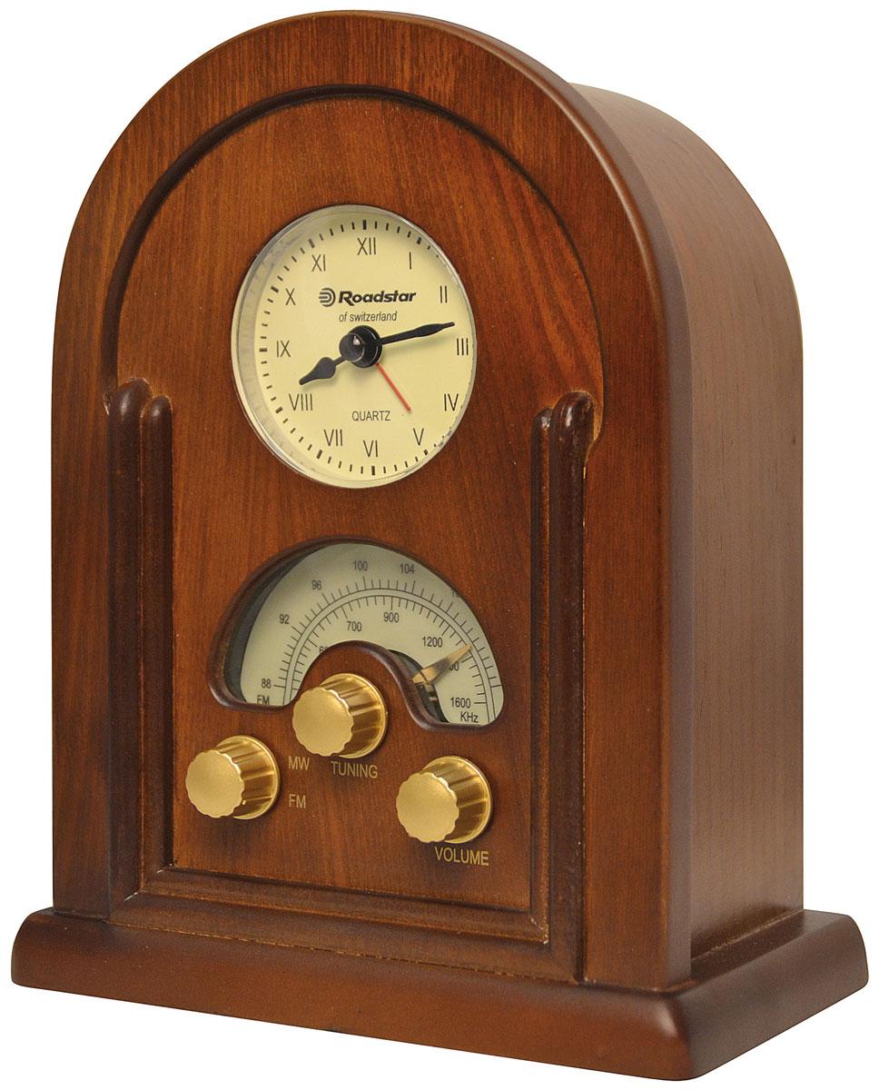 RoadStar HRA-1430 ретро-радиоHRA-1430Оригинальный радио проигрыватель RoadStar HRA-1430 станет прекрасным подарком для любителя ретро-дизайна. Встроенные кварцевые часы с функцией радио будильника добавят ему значимости. RoadStar HRA-1430 воспроизводит радио с FM/MW частот и имеет понятное управление.
