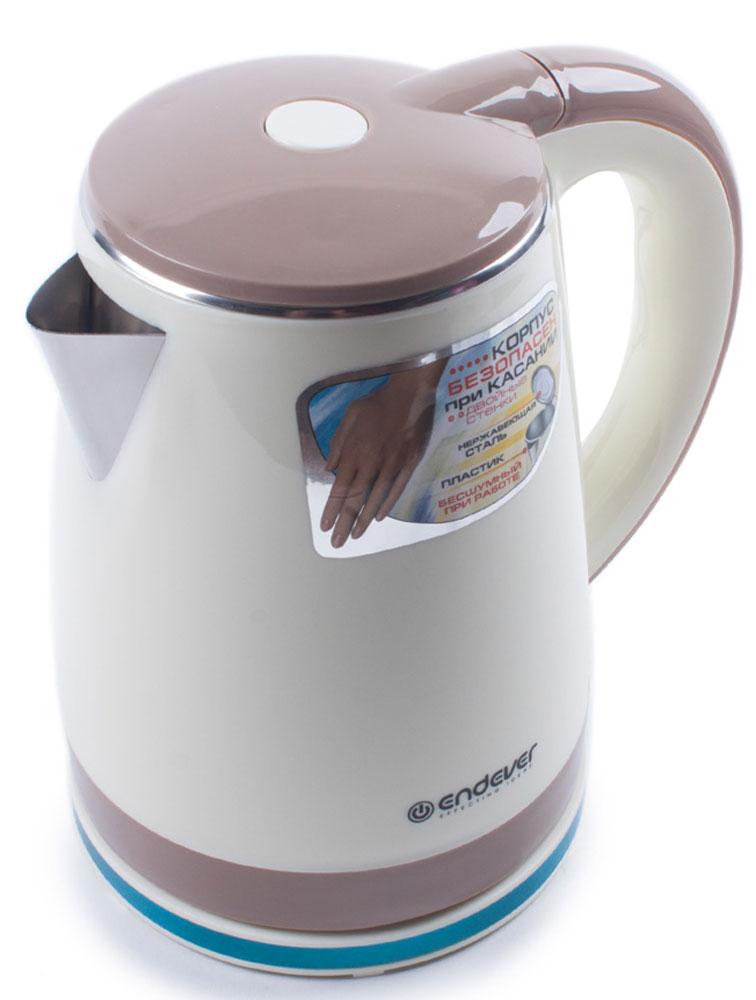 Endever KR-239S электрочайникKR-239SЭлектрический чайник Endever KR-239S прост в управлении и долговечен в использовании. Изготовлен из высококачественных материалов и имеет эргономичную ненагревающуюся ручку. Мощность 2200 Вт способна вскипятить 1,8 литра воды в считанные минуты. Двойной корпус с воздушной прослойкой дольше сохраняет тепло. Беспроводное соединение обеспечивает вращение чайника на подставке на 360°. Для безопасности при повседневном использовании предусмотрены функция автовыключения, а также защита от включения при отсутствии воды.