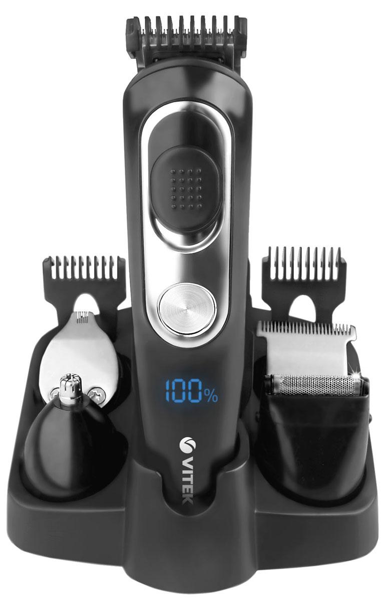 Vitek VT-2549(ВК) триммерVT-2549(ВК)Универсальный беспроводной набор для стрижки волос Vitek VT-2549(ВК) - это надежный помощник как дома, так и в путешествии. В комплект входят пять насадок, которые позволят добиться идеального результата в вашем образе, насадки для стрижки волос, насадка для для бритья небольших участков на щеках и подбородке, насадка для для стрижки волос в носу и ушах.