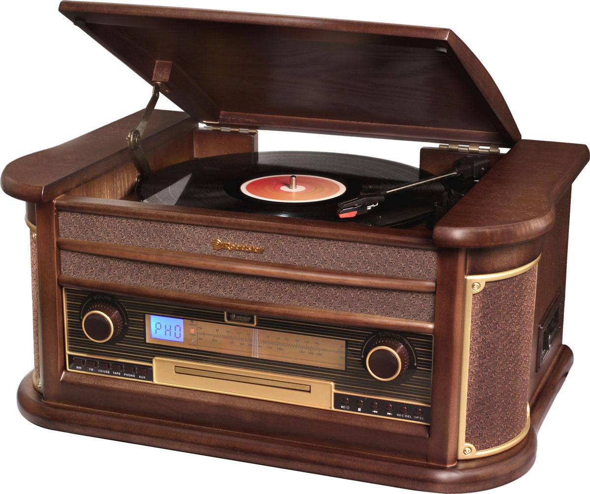 RoadStar HIF-1896TUMPK проигрыватель виниловых дисков1896TUMPKRoadStar HIF-1896TUMPK - оригинальный проигрыватель виниловых пластинок с функцией воспроизведения MP3 файлов с USB флэш-накопителей, воспроизведением аудиокассет, CD дисков и возможностью прослушивания радиостанций в диапазоне FM/MW. Проигрыватель воспроизводит пластинки практически всех типов, а благодаря встроенным стереодинамикам вы сможете слушать музыку без подключения его к акустической системе. Помимо этого он может записывать файлы в MP3 формате на USB накопитель. RoadStar HIF-1896TUMPK безусловно станет актуальным подарком для меломана или просто любителя ретро-дизайна. Выходная мощность: 40 Вт Номинальная выходная мощность (RMS): 2 x 2,5 Вт