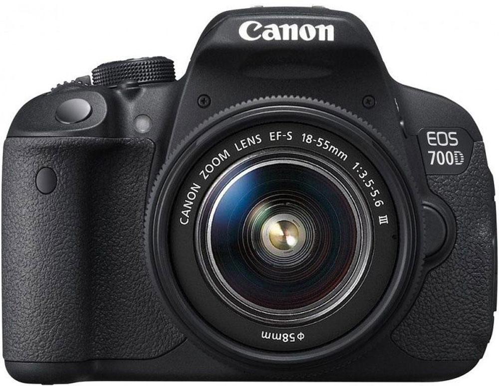 Canon EOS 700D Kit EF-S 18-55 DC III цифровая зеркальная фотокамера8596B095Цифровая зеркальная камера Canon EOS 700D идеальна для первого опыта в мире изображений EOS. Сделайте шаг в мир цифровой зеркальной фотографии и раскройте свой творческий потенциал. 18-мегапиксельный датчик позволяет создавать превосходные фотографии и видео, а удобный сенсорный ЖК-экран с переменным углом наклона Clear View II превращает съемку в удовольствие. Превосходное качество изображения: Запечатлейте каждую деталь благодаря 18-мегапиксельной матрице с гибридным CMOS-автофокусом. EOS 700D позволяет создавать изображения с низким уровнем шумов, которые можно распечатывать в большом разрешении, либо кадрировать и менять композицию. Видео в формате Full HD: Снимайте видео с разрешением 1080p и с выбором оптимального уровня автоматического или ручного контроля. Технология гибридной автофокусировки обеспечивает автоматическую непрерывную фокусировку при съемке видео. EOS 700D поддерживает почти бесшумную следящую автофокусировку для...