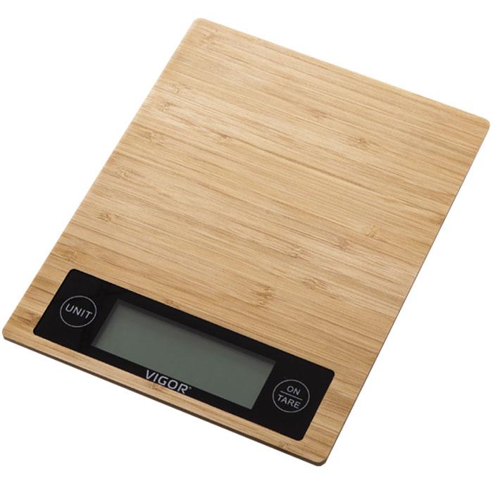 Vigor HX-8207 весы кухонныеHX-8207Кухонные электронные весы Vigor HX-8207 - незаменимый помощник современной хозяйки. Они помогут точно взвесить любые продукты и ингредиенты. Кроме того, позволят людям, соблюдающим диету, контролировать количество съедаемой пищи и размеры порций. Предназначены для взвешивания продуктов с точностью измерения 1 грамм. Платформа весов из натурального бамбука.