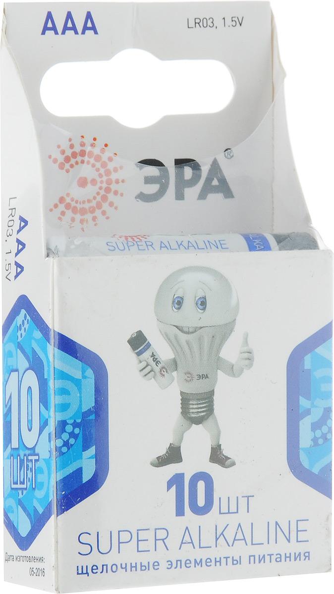 Батарейка ЭРА Super Alkaline, тип ААА (LR03), 1.5V, 10 штБ0002728Алкалиновые батарейки ЭРА Super Alkaline являются щелочными элементами питания. Они не содержат кадмия и ртути. Батарейки предназначены для использования в приборах с высоким потреблением электроэнергии: фотоаппаратах, плеерах, фонарях, игрушках и других устройствах. Внимание! При установке проверить полярность. Не разбирать, не перезаряжать, не подносить к открытому огню. Не давать детям! Не устанавливать одновременно новые и использованные батарейки, а также батарейки различных систем и типов.