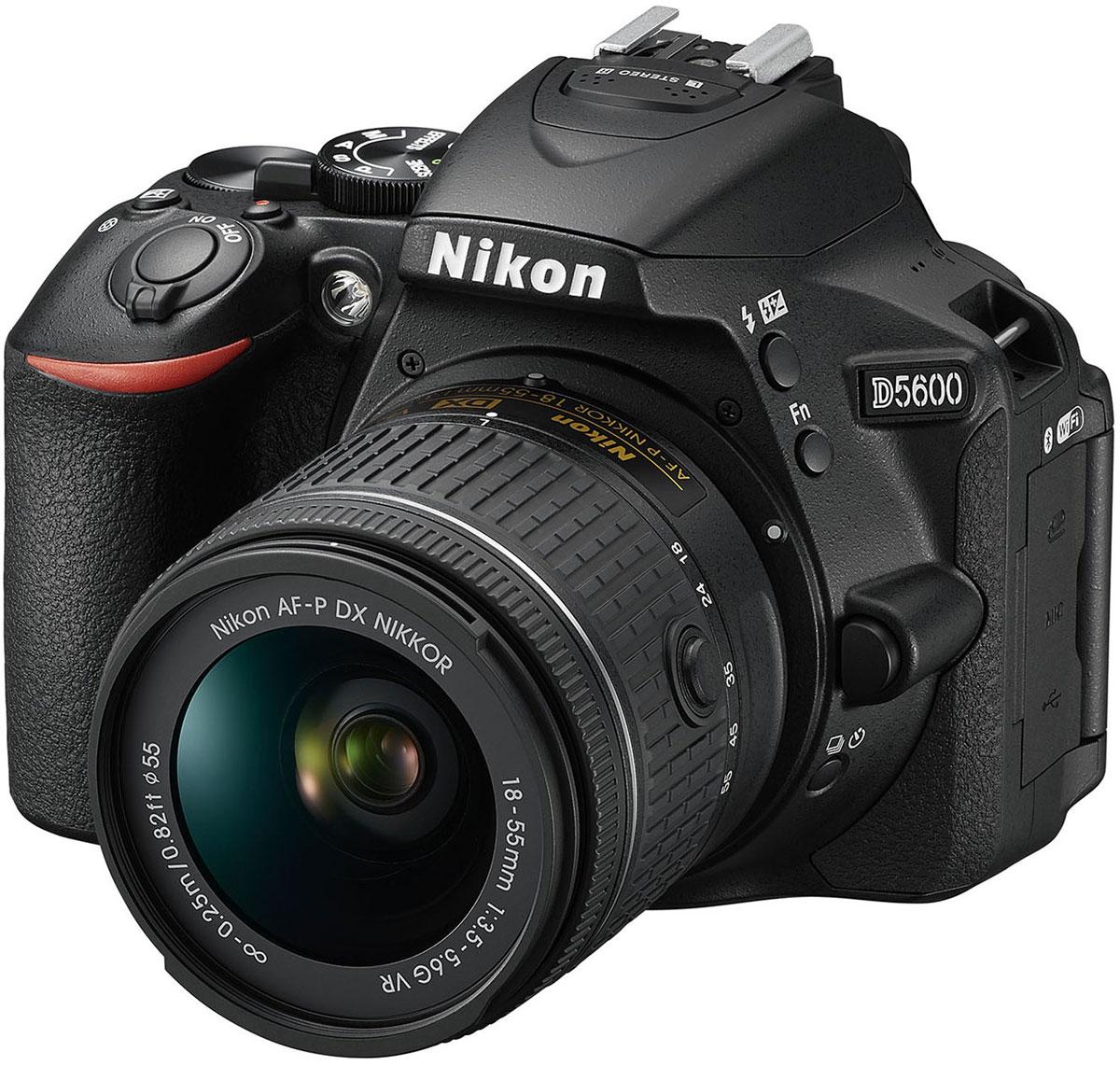 Nikon D5600 Kit 18-55 VR, Black цифровая зеркальная камераVBA500K001Следуйте за своим вдохновением, вооружившись фотокамерой Nikon D5600 с постоянным подключением. Фотокамера D5600, оснащенная большой матрицей формата DX с разрешением 24,2 млн пикселей, может четко воспроизводить тончайшие текстуры и создавать изображения с потрясающей детализацией. Ваши друзья и подписчики в социальных сетях увидят на каждом снимке именно то, что вы хотели показать. Диапазон чувствительности 100–25 600 единиц ISO и расширенная до 6400 единиц ISO чувствительность в режиме Ночной пейзаж позволяет с легкостью получать отличные результаты при недостаточной освещенности и сложных условиях освещения. Система обработки изображений EXPEED 4 обеспечивает превосходное понижение шума даже при высоких значениях чувствительности ISO. А благодаря широкому выбору сменных объективов NIKKOR вы сможете с легкостью создавать изображения с эффектно размытым фоном и богатыми тональными оттенками. Революционное приложение...