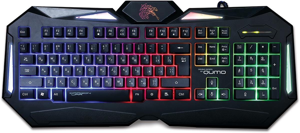 Qumo Dragon War Spirit, Black игровая клавиатура20795Ультратонкая клавиатура Qumo Dragon War Spirit обладает противоскользящим покрытием, и очень удобна в использовании. Особый космический шик клавиатуре придаёт лазерная гравировка символов и LED-подсветка и подсветка рабочей области, которые позволяют использовать её в темноте. Яркость подсветки можно регулировать по своему усмотрению. Клавиатура очень чувствительна к нажатиям. Мгновенная реакция устройства увеличивает шансы геймера обойти своих соперников в самой динамичной игре! Идеально точно разработанный дизайн клавиатуры под любую форму рук для еще более комфортного правления Утяжеленная конструкция, чувствительные клавиши, клавиши выдерживают до 15 миллионов нажатий Ход клавиш: 3,6 мм Усилие нажатия: 40 г