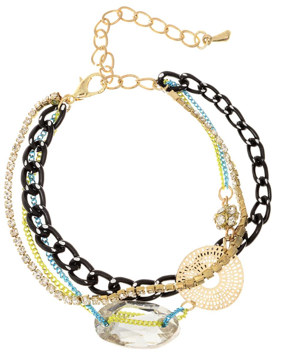 Браслет женский Taya, цвет: золотой, черный. T-B-7516-BRAC-MULTIT-B-7516-BRAC-MULTIМногослойный и многоцветный браслет из цепей, нитки страз и прозрачного кристалла.
