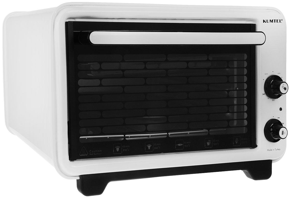 Kumtel KF 3135 D, White жарочный шкафKF 3135 DЖарочный шкаф Kumtel KF 3135 D станет отличным решением для тех, кто не имеет возможности установить полномасштабную плиту. Полезный объем духовки составляет 36 литров, которая позволяет вмещать большие по размерам блюда. Корпус электропечи термоизолирован и имеет свойство не нагреваться в процессе долгой готовки. Панель управления расположена слева, имеет два механических регулятора и индикатор работы печи. Внутреннее пространство данной модели покрыто эмалью, которая отлично отмывается от остатков жира при помощи моющих средств. Для использования решетки для гриля и противня для стандартных блюд предусмотрено три уровня. Дверца с огнеупорной ручкой полностью выполнена из жаропрочного стекла. Мини-печь имеет встроенное освещение, что позволяет видеть готовность блюда. Когда блюдо готово, раздается звуковой сигнал, а печь отключается автоматически. Термостат: от 40 до 280°C