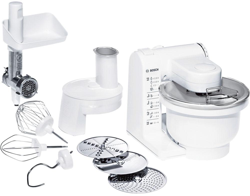 Bosch MUM 4406 кухонный комбайнMUM 4406Универсальный кухонный комбайн Bosch MUM 4406 прост в эксплуатации и оснащен всеми основными функциями для приготовления различных блюд. MultiMotion Drive: идеальное смешивание ингредиентов благодаря планетарному принципу вращения насадок. Широкий ассортимент насадок: венчик для замешивания жидкого теста, круглый венчик для взбивания крема и яичных белков, насадка для замешивания крутого теста, универсальная резка с тремя дисками для разных типов нарезки и мясорубка. Большая чаша: 3,9 л, возможность замешивания до 2 кг теста. Многофункциональный рычаг для крепления насадок в разных положениях с тремя валами привода. 4-ступенчатая регулировка скорости вращения, функция парковки (остановка принадлежностей в заданном положении) Прост в использовании и безопасен. Аксессуары можно мыть в посудомоечной машине.
