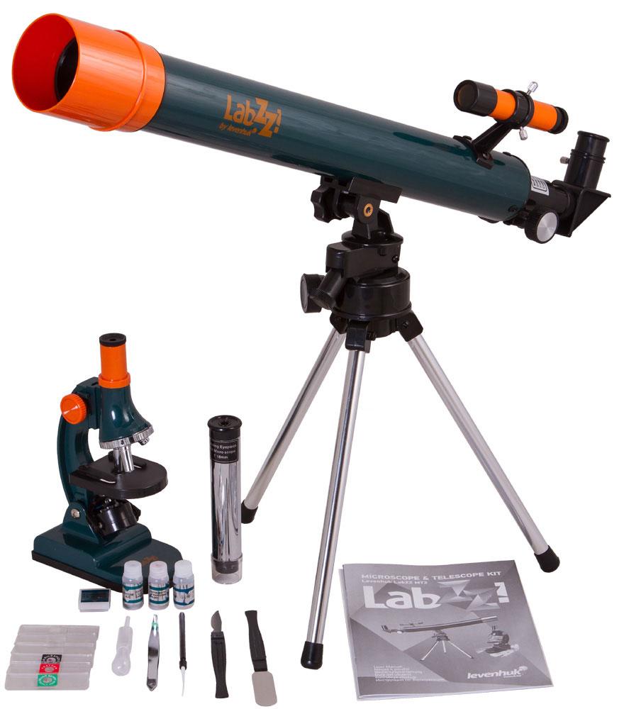 Levenhuk LabZZ MT2, Blue телескоп + микроскопTelescope + Microscope LabZZ set_зеленыйНабор Levenhuk LabZZ MT2 – идеальный подарок для любознательного ребенка! В набор входит небольшой удобный телескоп и простой в управлении микроскоп, с которыми познавать окружающий мир будет еще интереснее. Глядя в микроскоп, юный исследователь узнает, как устроены привычные окружающие предметы, а наблюдения в телескоп помогут ему прикоснуться к тайнам космоса. Набор прекрасно подходит для дошкольников и младших школьников. Компактный азимутальный телескоп Телескоп отличается небольшими размерами и очень простым управлением – это идеальная модель для первых астрономических наблюдений. Диаметр объектива составляет 50 мм – в телескоп можно не только изучать небесные тела, но и следить за наземными объектами. Модель поставляется с двумя окулярами. Окуляр H12,5 мм (50x) нужен для наблюдения за астрономическими объектами – с ним наблюдают Луну, планеты и звезды. Чтобы рассмотреть далекие наземные объекты, используется окуляр 18 мм (35x). Этот окуляр...