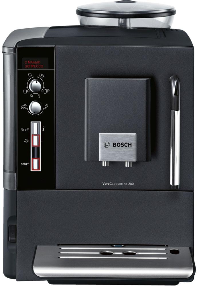 Bosch TES55236RU VeroCappuccino кофемашинаTES55236RUКофемашина Bosch TES55236RU всегда готова сварить ваш любимый кофе. Какой бы напиток вы ни выбрали, достаточно всего одного нажатия кнопки и напиток будет готов за считанные секунды, благодаря динамичному интерфейсу и бойлеру. Инновационный проточный нагреватель Intelligent Heater inside: правильная температура заваривания кофе и полноценный аромат благодаря технологии SensoFlowSystem. MilkMagic - полуавтоматический капучинатор, взбивание молочной пенки непосредственно в чашке. CeramDrive: высококачественная керамическая мельница, сделанная из износостойкой керамики. Простое управление с помощью двух поворотных регуляторов и ЖК-дисплей. Intelligent Heater inside с сенсорами температуры: инновационная система нагрева воды SensoFlowSystem - всегда правильная, оптимальная температура заваривания кофе. Технология заваривания AromaProConcept и уникальная конструкция поршня создают оптимальные условия в камере заваривания. ...