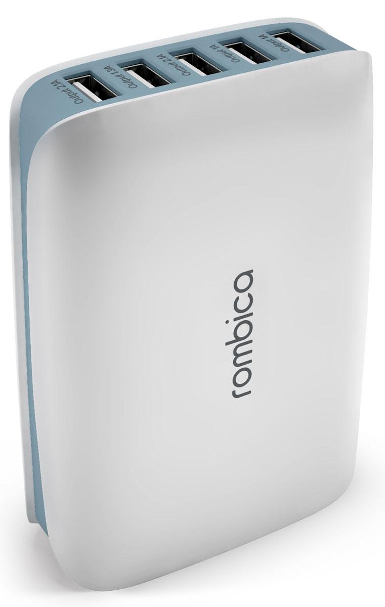 Rombica Neo C25 5xUSB, White сетевое зарядное устройствоPSU-0025Сетевое зарядное устройство Rombica Neo C25 совместимо с любым современным портативным устройством (телефоном, смартфоном, планшетным ПК). Имеется возможность заряда пяти различных устройств одновременно. Данная модель работает в бытовых сетях переменного тока. Мощность USB 1/2: 1A Мощность USB 3/5: 2.1A Мощность USB 4: 1.3A