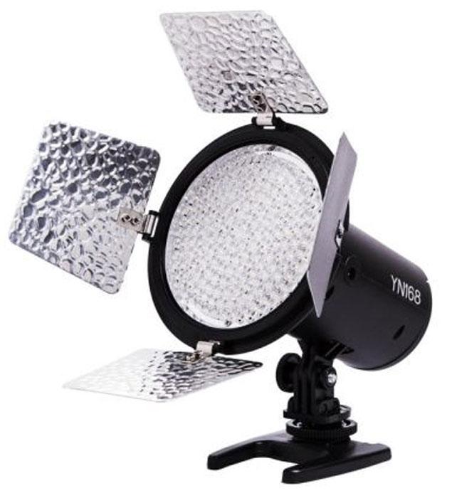 YongNuo YN-168 осветитель светодиодный для фото и видеокамерYN-168Светодиодный осветитель YongNuo YN-168 предназначен для использования при фото и видео съемке как источник постоянного дополнительного или основного света. При установке на камеру в качестве накамерного светильника улучшает освещаемую сцену и дает ровную и сильную заливку. Идущие в комплекте фильтры позволяют менять цвет светового потока. Благодаря компактным размерам осветитель удобен в использовании и при транспортировке. Световой поток: 2280 Лм Цветовая температура: 5500K Эффективная дистанция: 5 метров Фильтры в комплекте: белый, красный, синий, желтый Питание: от 6 батарей типа АА или от аккумуляторов типа Sony NP-F550 / F570 / F750 / F960 / F970 или их аналогов, от сети 220В (в комплект не входит)