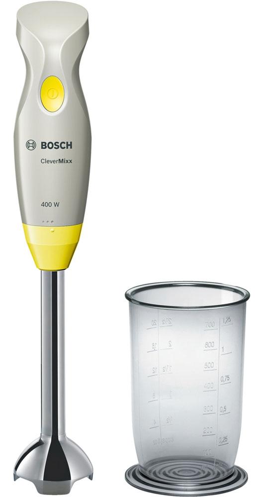 Bosch MSM2410Y блендерMSM2410YПогружной блендер Bosch MSM2410Y позволит вам готовить с удовольствием. Устройство обеспечивает быстрый результат и отличное качество благодаря мощному мотору 400 Ватт. В комплекте вы найдете прозрачный мерный стакан, при помощи которого удобно отмерять нужное количество продуктов и смешивать их непосредственно в стакане. Небольшой вес прибора и эргономичная форма ручки созданы для комфортной работы. Bosch MSM2410Y смешивает и измельчает продукты качественно и без брызг благодаря специальной конструкции погружной части.