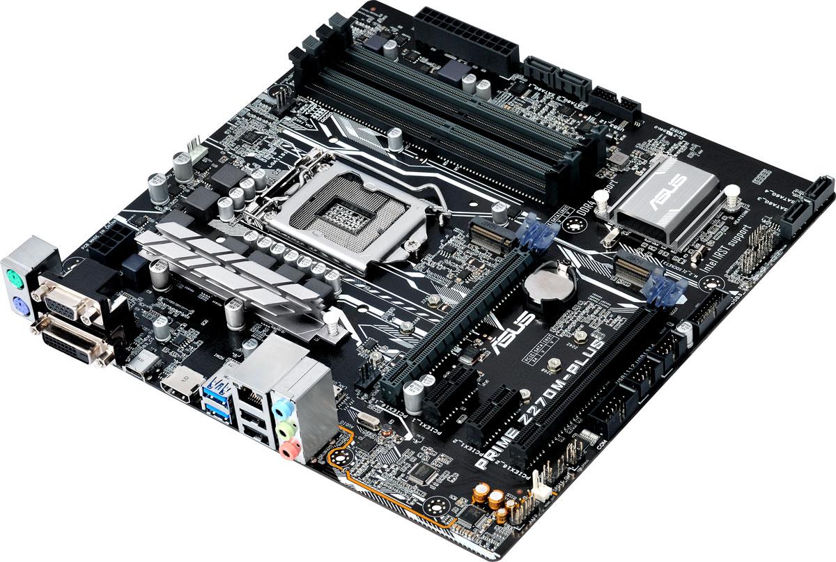 Asus Prime Z270M-Plus материнская плата90MB0S50-M0EAY0Asus Prime Z270M-Plus - материнская плата формата micro-ATX с процессорным разъемом Intel LGA1151, светодиодной подсветкой и современными интерфейсами. Данная материнская плата оснащена новейшим чипсетом Intel Z270 и совместима с процессорами Intel серий Core i7/Core i5/Core i3/Pentium/Celeron шестого и седьмого поколений, которые устанавливаются в разъем LGA1151. Такие процессоры включают в себя интегрированное графическое ядро, а также контроллеры памяти и шины PCI Express с поддержкой двухканальной DDR4 SDRAM (4 слота DIMM) и 16 линий PCI Express 3.0/2.0. Intel Z270 поддерживает до десяти портов USB 3.0 и шести портов SATA 6 Гбит/с, предлагает интерфейсы M.2 (32 Гбит/с) и PCIe 3.0, а также позволяет использовать графические ядра, встраиваемые в современные процессоры Intel. Prime – это новый этап в развитии материнских плат Asus, чья родословная начинается с далекого 1989 года. Команда инженеров, создающих модели серии Prime, ставила...
