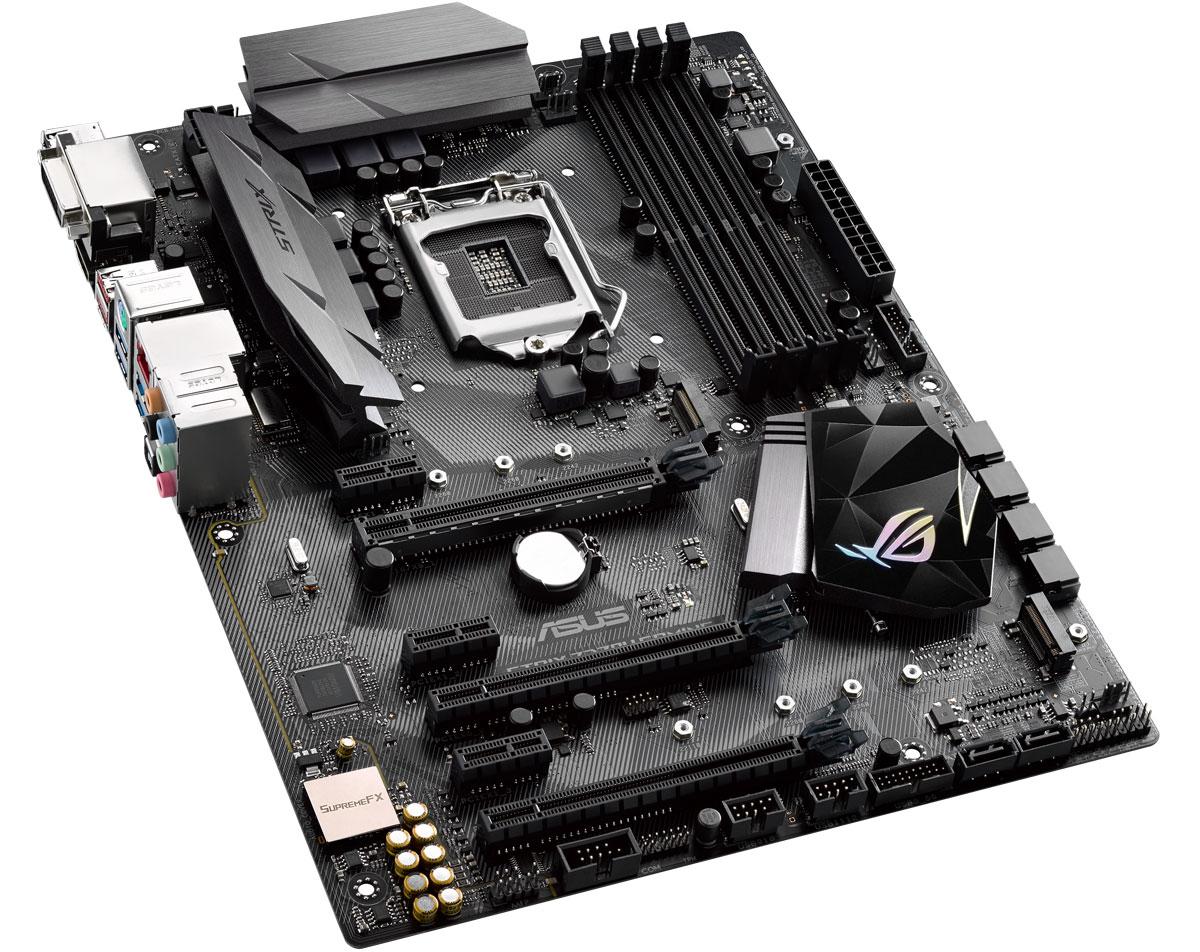 ASUS ROG Strix Z270H Gaming материнская плата90MB0SS0-M0EAY0Asus ROG Strix Z270H Gaming - геймерская ATX-плата для платформы Intel LGA 1151 с технологией 5-Way Optimization, поддержкой DDR4 3866 МГц, двумя разъемами M.2, портами SATA 6 Гбит/с, HDMI и USB 3.1 Type-C. Данная модель базируется на чипсете Intel Z270 и имеет 4 слота для оперативной памяти типа DDR4. Поддерживаются модули ОЗУ типа UDIMM. Максимальный объём памяти может достигать 64 ГБ. Слотов расширения всего шесть: один PCI Express 3.0 x16, один PCI Express 3.0 x8 (физически x16), один PCI Express 3.0 x2 (физически x16) и три PCI Express 3.0 x1. Силами чипсета плата поддерживает 6 портов SATA 6 Гбит/с и два M.2 Socket 3. Материнская плата может похвастать высококачественной аудиосистемой ROG SupremeFX, которая обеспечивает надлежащее качество полезного сигнала, характеризуется превосходным соотношением сигнал/шум и гарантирует максимальный комфорт при прослушивании аудиоконтента на ПК. Поддержка элементов, распечатанных на...