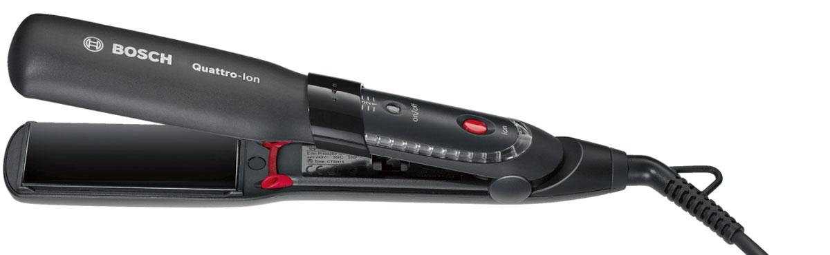 Bosch PHS5263 выпрямитель для волосPHS5263Выпрямитель для волос Bosch PHS5263 имеет технологию Quattro-Ion: мощный сфокусированный поток ионов, который подается из 4-х каналов при этом обволакивает и защищает волос со всех сторон. Стильная круговая красная подсветка при активации 4-х канальной ионизации. Удобная индивидуальная настройка температуры в зависимости от типа волос и суперширокие пластины для быстрого и эффективного выпрямления волос. Все это есть в Bosch PHS5263. Также есть анодированное покрытие нагревательных элементов для равномерного распределения тепла и бережной укладки.