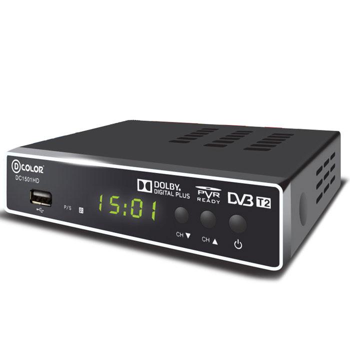 D-Color DC1501HD DVB-T2 цифровой ТВ-тюнер6907325815019Цифровой ТВ-тюнер D-Color DC1501HD отвечает всем самым современным требованиям к цифровым ресиверам. Новейшее ПО и качественные комплектующие позволяют передавать четкую, яркую, сочную картинку даже в самых отдаленных регионах России. Процессор: MStar 7T01 со встроенным демодулятором Тюнер: Maxliner 608 Тип корпуса: металлический Диапазон принимаемых частот: 174-862 MГц