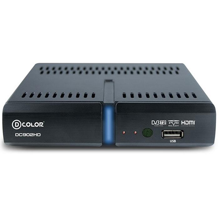 D-Color DC902HD DVB-T2 цифровой ТВ-тюнер6907325819024Цифровой ТВ-тюнер D-Color DC902HD отвечает всем самым современным требованиям к цифровым ресиверам. Новейшее ПО и качественные комплектующие позволяют передавать четкую, яркую, сочную картинку даже в самых отдаленных регионах России. Устройство позволяет записывать видео в формате Full HD на внешний жесткий диск, подключаемый посредством USB. Процессор: MStar 7T01 со встроенным демодулятором Maxliner 608 Тип корпуса: пластик Диапазон принимаемых частот: 174-862 Mгц