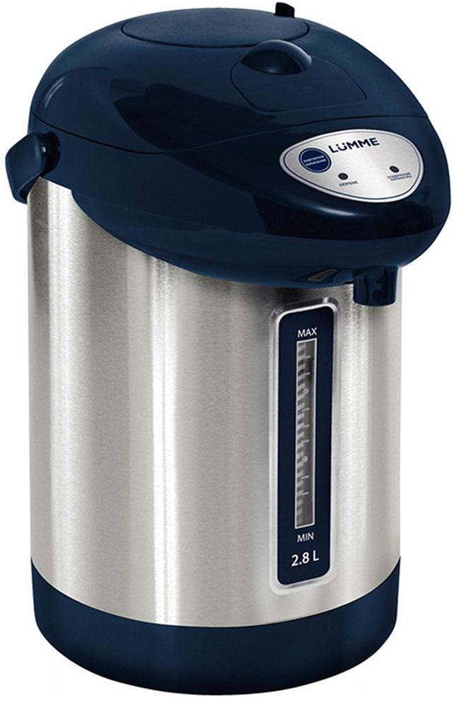Lumme LU-297, Blue термопотLU-2972,8-литровый термопот Lumme LU-297 с ручным насосом для безопасной подачи кипятка и функцией повторного кипячения. Два режима работы – автокипячение и поддержание температуры позволяют использовать термопот с наименьшими энергозатратами, при этом теплая вода или кипяток остаются всегда под рукой. Благодаря корпусу из высококачественной пищевой нержавеющей стали и закрытому нагревательному элементу термопот обладает значительной прочностью и экологически чист - нержавеющая сталь не имеет запаха и сохраняет природные натуральные свойства воды. Шкала уровня воды на корпусе позволяет легко определить необходимость наполнения термопота водой, а LED-индикаторы режимов работы – проконтролировать его состояние. Термопот оснащен такими функциями безопасности как автоматическое отключение при закипании и отключение при недостаточном количестве воды. Плоское дно термопота с закрытым нагревательным элементом очень функционально –...