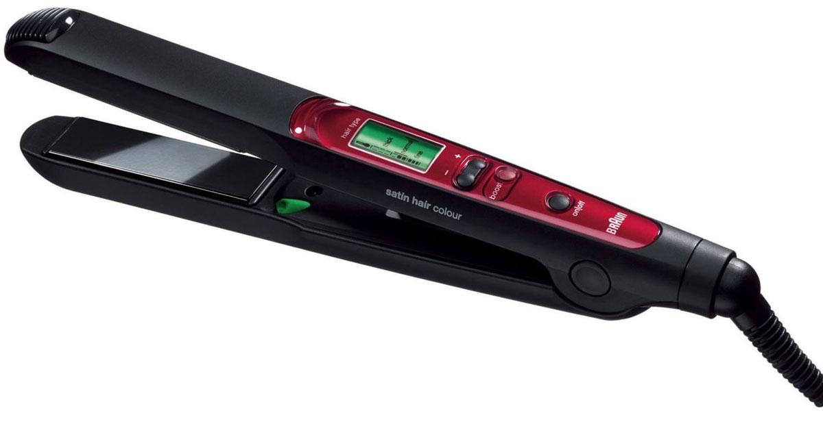 Braun Satin Hair Colour ES3, Red Black выпрямитель для волос63546700Braun Satin Hair Colour ES3 - функциональный выпрямитель для волос различного типа. Благодаря широкому температурному диапазону прибор справляется с непослушными и тонкими локонами. Керамическое покрытие пластин не повреждает волосы, бережно сохраняя их природную структуру. В приборе предусмотрена функция подачи холодной воздушной струи, все изменения выводятся на ЖК-дисплей. Нагрев происходит в кратчайшие сроки — от 30 секунд. Каждые полчаса происходит автоматическое отключение во избежание превышения температуры.