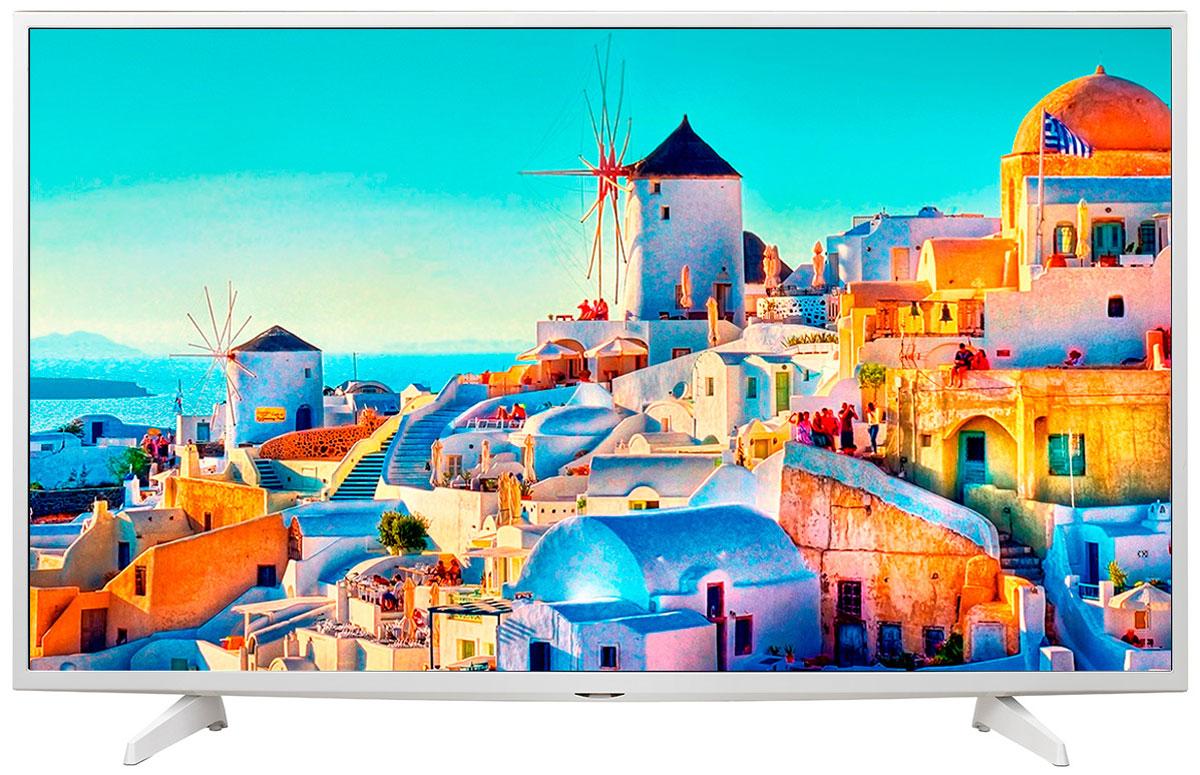 LG 43UH619V телевизор43UH619VОцените обновлённый дизайн корпуса телевизора LG 43UH619V с металлическими элементами. HDR Pro: Функция HDR Pro позволяет увидеть фильмы с теми яркостью, богатейшей палитрой и точностью цветовых оттенков, с какими они были сняты. Трёхмерная обработка цвета: В телевизоре LG 43UH619V используется трёхмерный алгоритм обработки цвета, что позволяет минимизировать искажения и добиться оттенков, максимально приближенных к натуральным. Энергосбережение: Эта функция включает в себя контроль подсветки, который позволяет регулировать яркость экрана в целях экономии электроэнергии. ULTRA Surround: Специальный алгоритм преобразовывает звуковые волны, исходящие из двухканальных динамиков так, что вам будет казаться, что вы слушаете 7-канальный звук. Получите ещё больше удовольствия от просмотра 4К фильмов! webOS 3.0: Обновлённая операционная система LG SMART TV на базе webOS 3.0 создана для того, чтобы доступ...