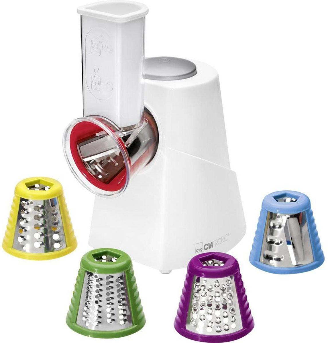 Clatronic ME 3604, White электрическая овощерезкаME 3604 weis 150WИзмельчитель электрический Clatronic ME 3604 - незаменимый помощник на кухне для хозяйки. Устройство предназначено для переработки различных продуктов. Компактные габариты прибора позволяют хранить его в ящике кухонного стола или на полке шкафа. Удобная ручка позволяет сделать использование прибора еще более комфортным. В комплекте с электрическим измельчителем Clatronic ME 3604 идут четыре насадки-терки. Сменные насадки легко снимаются и моются. Модель изготовлена из прочного пластика, обеспечивающего прочность и долгосрочность устройства.