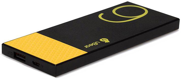 uBear Light 6000, Black Yellow внешний аккумулятор