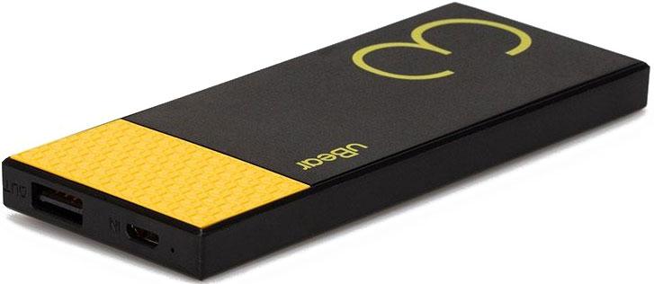 uBear Light 3000, Black Yellow внешний аккумуляторPB05BL3000-ADВнешний аккумулятор uBear 3000 покорит вас своим внешним видом с первого взгляда. Качественный высококачественный пластик и невероятно яркий и тонкий дизайн. Аккумулятор прекрасно будет сочетаться с вашим смартфоном или планшетом, поддерживая их изящный стиль. Технические хараткеристики на высоте: LED-индикатор заряда, защита от короткого замыкания, перегрева, большое количество циклов перезарядки, Li-Ion аккумулятор.
