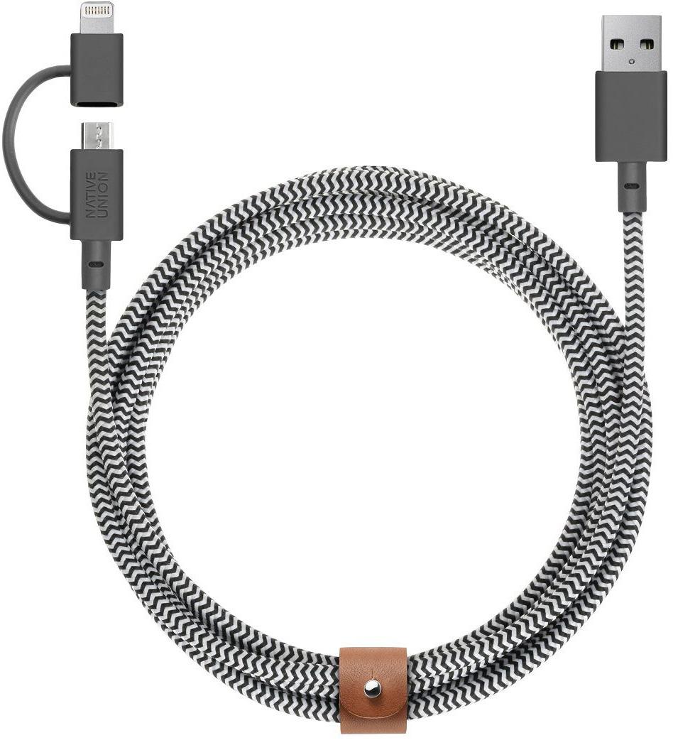 Native Union Belt Twin Head, Black White кабель USB-Lightning/microUSB (2 м)BELT-UL-ZEBКабель Native Union Belt Cable Twin Head оснащен двумя коннекторами Lightning и microUSB и может быть использован как для подзарядки устройств Apple, так и для устройств, оснащенных интерфейсом microUSB. Аксессуар очень удобно брать с собой в поездки, так как отпадает необходимость использования нескольких кабелей для устройств с различными интерфейсами. Сертификация Apple MFI. Native Union - это абсолютно новый взгляд на зарядные провода.