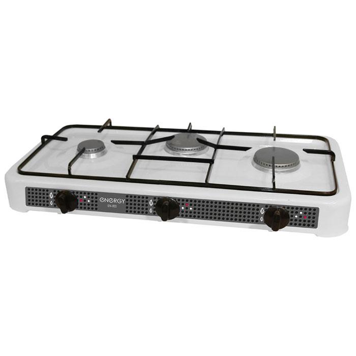 Energy EN-003, White настольная плита54 144027Energy EN-003 - компактная настольная плита, которая работает на сжиженном нефтяном газе. 3 конфорки позволят вам приготовить еду для всей семьи. Благодаря своим габаритам, данная модель отлично подойдет для небольшой кухни на даче. Она изготовлена из качественных материалов и прослужит вам долгое время. Давление газа: 2800 Pa Мощность: 2 x 3200 Вт + 2500 Вт