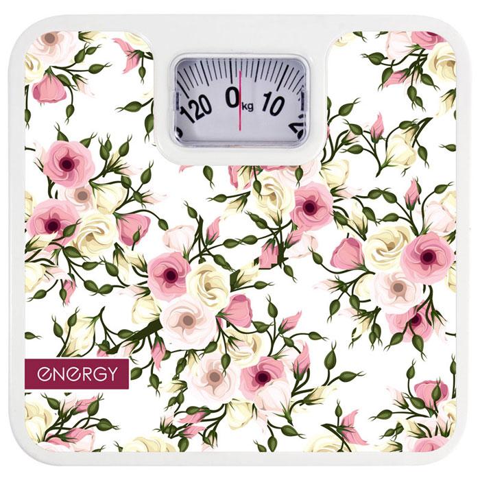 Energy ENМ-409B, White Pink Yellow напольные весы54 011626Напольные механические весы Energy ENМ-409B позволят быстро и просто измерить массу тела без необходимости покупать какие-либо элементы питания. Прочная платформа способна выдержать вес до 120 кг. Крупный шрифт надписей на шкале отлично подойдет для людей со слабым зрением.