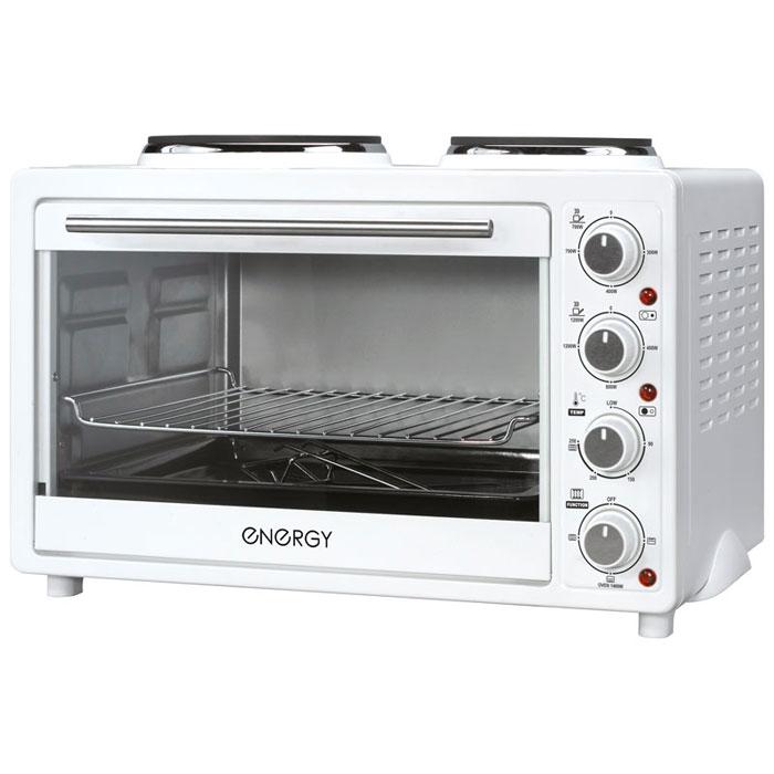 Energy GН30-W, White мини-печь54 160001Energy GН30-W - компактная электрическая духовка с внутренним объемом 30 литров. Идеально подходит как для деликатного приготовления пищи, так и для приготовления блюд с хрустящей корочкой. Данная модель оснащена термостатом с диапазоном температур 90 - 250°С и двумя электрическими конфорками. Легко очищается, комплектуется решеткой для гриля и противнем для выпекания. Мощность конфорок: 1200 Вт, 700 Вт Мощность духовки: 1400 Вт 2 конфорки: 185 мм, 155 мм