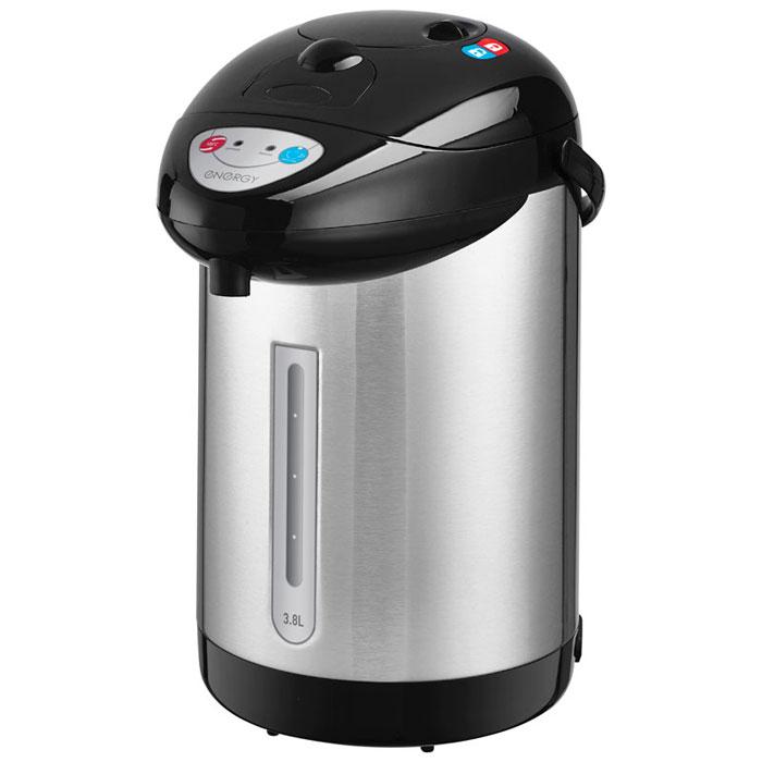 Energy TP-603, Silver Black термопот54 280027Термопот Energy TP-603 поможет не только вскипятить или подогреть воду, но и сохранить ее температуру на заданном уровне в течение нескольких часов. Благодаря этому вы избавите себя от частого подогрева воды, что, в свою очередь, обеспечит вполне реальную экономию электроэнергии. Данная модель разработана специально для тех, кому постоянно необходимо иметь в доме запас горячей воды. Мощность в режиме поддержания температуры: 35 Вт 3 способа подачи воды: автоматическая (нажатием кнопки, нажатием чашкой) и ручная (помпа) Быстрое кипячение воды Функция повторного кипячения Съемный шнур питания